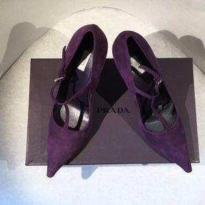 Prada T strap purple suede heels
